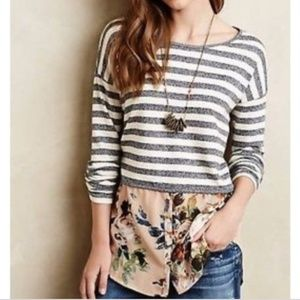 Anthropologie Postmark Striped/Floral Top * XS
